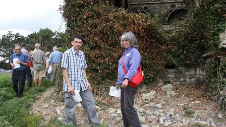 Bromholm Priory open day. Kurtis Gale and Jo Arnold with visitors. Pictures: Maurice Gray