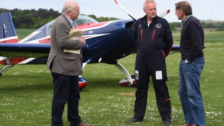 Former members of the Norfolk & Norwich Aero Club, at the Northrepps Aerodrome, for a reunion earlie