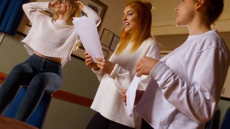 Rehearsal pics. Emily Sidnell, Paris Chandler and Chloe Chandler rehearsing a song from South Pacifi