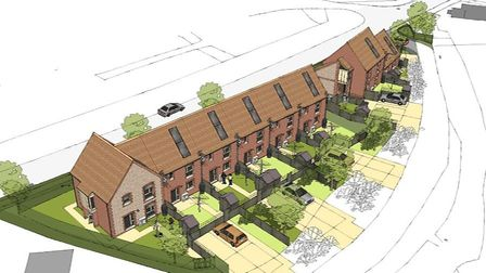 An artist's impression of Hastoe's vision for nine new affordable homes in Beeston Regis. Picture: N