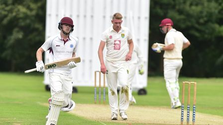 Action between Swardeston (batting) and Great Witchingham. Jordan Taylor in bat .Picture: Nick Butch