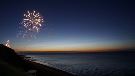 The carnival firework display over Cromer, taken from the promenade. Picture: Emma Boyd