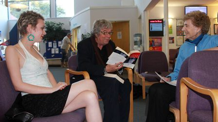 Peter Pegnall reading poetry with patients at workshop he ran at Sheringham Medical Practice. Photo: