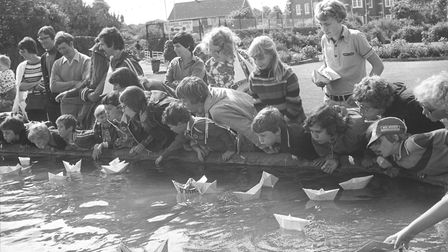 Paper boat race - North Lodge Park - Cromer, 31st July 1979 Picture: Archant Library
