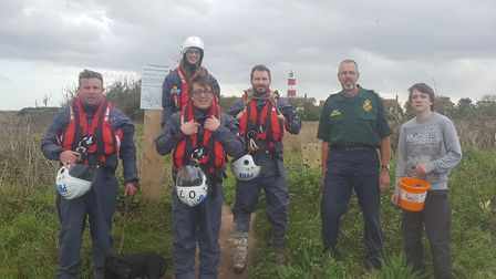The Sea Palling lifeboat crew took on an ambitious 18-mile sponsored walk along the Norfolk coast. P