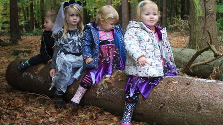 Toddler pals Charlotte, Olivia, Sienna and Lucas take a break during a Halloween trail held at Holt