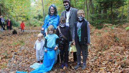 Peter and Lucy Moore Fuller dressed in scary style with sons Otto and Albert and daughters Cora and