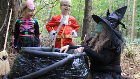 Ella, 5, and Jacob, 7, watch 'witch' Donna Welch stir up a brew at a Halloween trail held at Holt Co