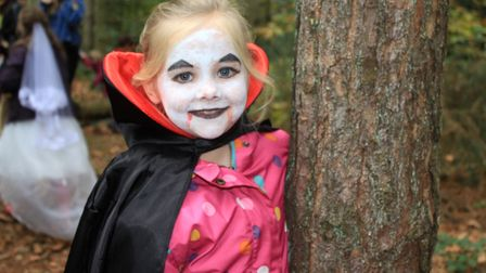 Spooky vampire Molly, 7, on the hunt for witch's brew ingredients at a Halloween trail held at Holt