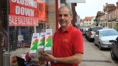 Nobby's of Sheringham owner Steve Clarke outside the Church Street discount store, which will be shu