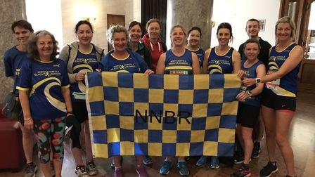 The North Norfolk Beach Runners contingent at the Budapest Marathon weekend pose for a team photo.