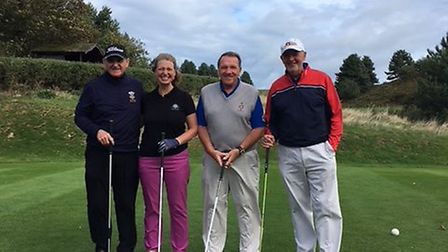 Pictured at the Royal Cromer Veterans v Royal Norwich Seniors match are, from left to right: Chris K