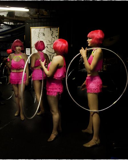 Flamingos, one of the images of Hippodrome Circus performers featured in an exhibition at the Red Li