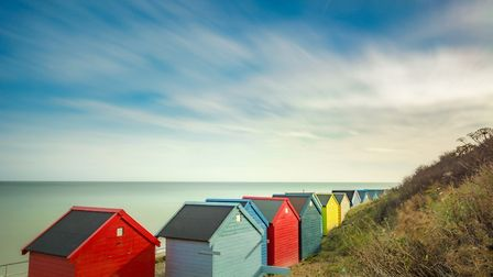 Lovely Blue skies and colourful beach huts at Overstrand, North Norfolk this morning.