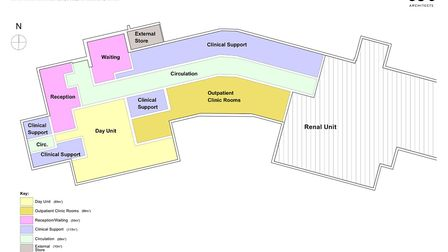 A ground floor plan for the new wing. Picture: lsi designs for the N&N NHS Foundation Trust.