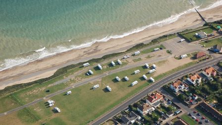 Travellers set up an illegal camp in Runton Road car park in Cromer. Picture: Submitted