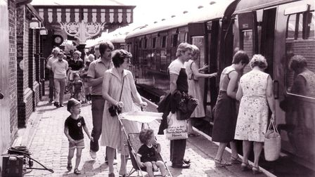 A busy scene at the North Norfolk Railway Station at Sheringham as passengers board the 10.45am stea