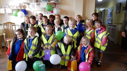 Youngsters from Hickling School who took part in a memory walk to help raise money for the Alzheimer