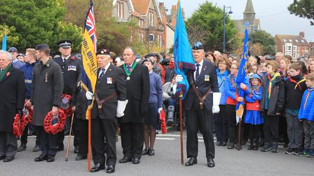 Standard bearers and wreath-layers at Sheringham Remembrance Day service. Photo: KAREN BETHELL.