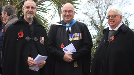 From left: The vicar of Sheringham, Rev Christian Heycocks with Royal Navy deputy chaplain of the fl