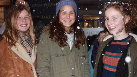 Snow machine fun at Sheringham Christmas lights switch-on. Photo: KAREN BETHELL