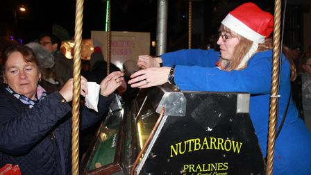 Hot roasted chestnuts on sale at Sheringham Christmas lights switch-on event. Photo: KAREN BETHELL