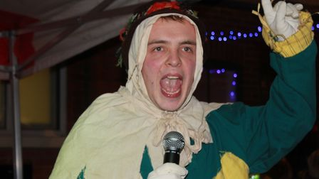 Sheringham Little Theatre Wizard of Oz star Harry Williams on stage at Sheringham Christmas lights s