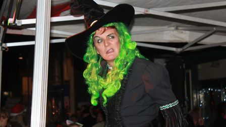 Sheringham Little Theatre Wizard of Oz star Loraine Metcalfe on stage at Sheringham Christmas lights
