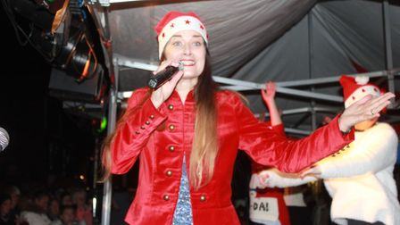 Sheringham Little Theatre Wizard of Oz star Hana Stewart on stage at Sheringham Christmas lights swi
