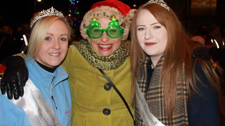 Carnival committee member Della McClean (centre) with carnival queen Abi Dowsett-Olby (left) and att