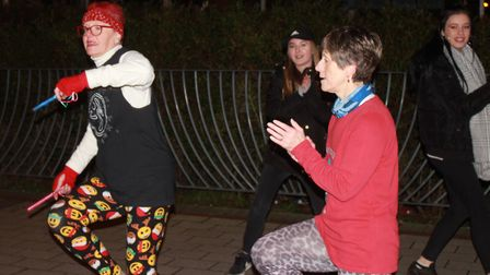 Zumba dancing at Sheringham Christmas lights switch-on. Photo: KAREN BETHELL