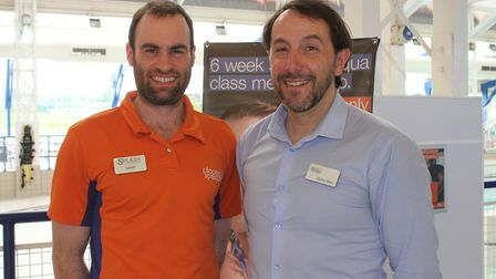 Splash Leisure and Fitness Centre general manager Stephen Mews (right) with fitness instructor Garry