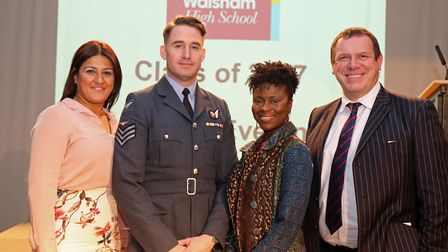 The speakers at the NWHS Prizegiving, Sgt Chris Lee (centre left) and Emily Jupp (centre right), wit