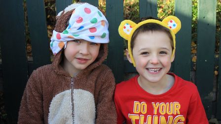 Six-year-old pals Evan and Charlie in Pudsey Bear outfits at Sheringham Primary School's Children in