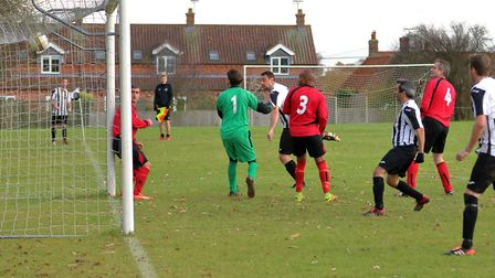 Action from Hindringham's big win over Cromer Town on Saturday. Picture: Ronnie Heyhoe