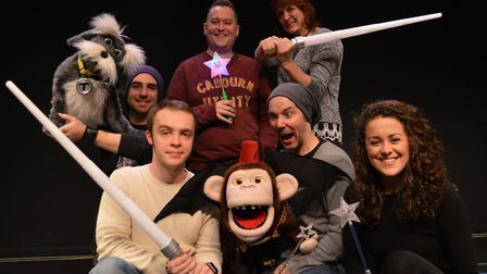 The cast of the Sheringham Little Theatre pantomime, The Wizard of Oz. Back, from left: Toto the dog