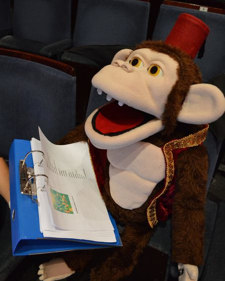 Sheringham Little Theatre pantomime Wizard of Oz star Coco the monkey learning his lines ready for o