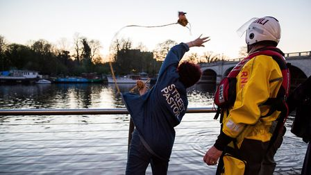 Crew members from Teddington Lifeboat Station help raise river safety awareness by training bar staf