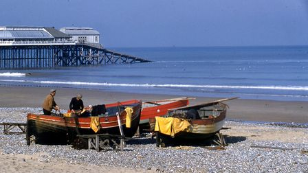 A Cromer Miscellany. Traditional style Cromer crab boats on the beach in 1959. Pictures: Poppyland