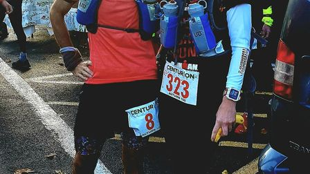 North Norfolk Beach Runners' Vinnie Purdy and Maria Greaves before the start of the Autumn 100. Pict