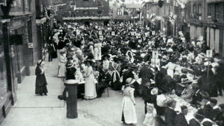 The Coronation dinner in North Walsham Market Place, dated 22nd June 1911. Photo: Archant Library