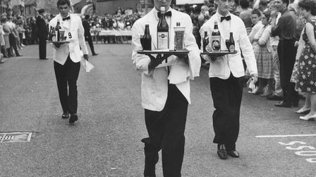 Places - C Events - Carnivals The annual waiters race during Cromer carnival. Dated 7 August