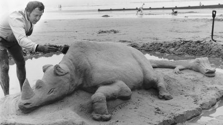 Places - C Sand sculpture on Cromer beach. Dated 23 August 1971 Photograph C7804