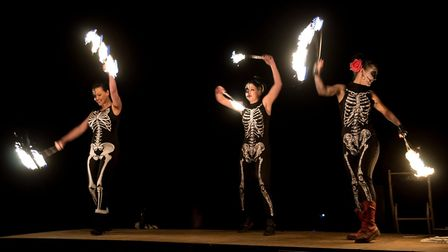 Fire eater group Dual Fuel in action at last year's Walcott fireworks display. Photo: STEVE HONE