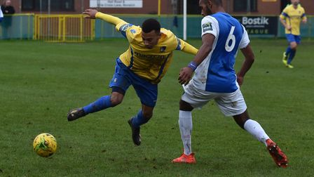 Action from Norwich United's 1-1 draw against Barking. Picture: Sonya Duncan
