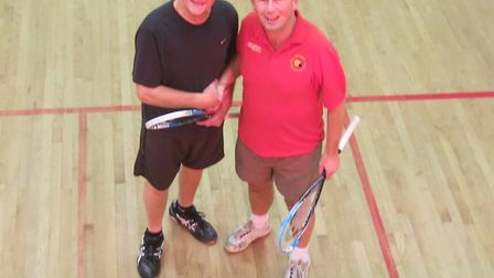 John Chandler (left) who, hampered by a knee injury, lost 3-1 and John Baker who won, what proved to
