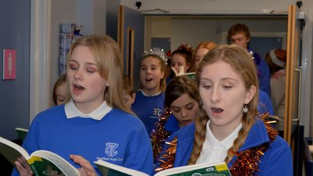 Choir members in their carol singing tour of the wards. Picture: Richard Batson