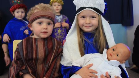 Three-year-olds Francesca and Chobi as Mary and Joseph in the Ladybird Pre-school Nursery production