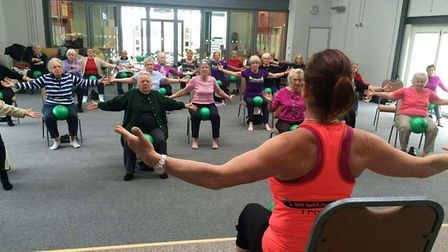 Sally King of North Norfolk Coastal Fitness running a 'mindercise' class at the Lighthouse Church, S