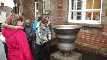 The bell is the first part of Happisburgh's beach artwork to arrive. Picture: Denise Burke